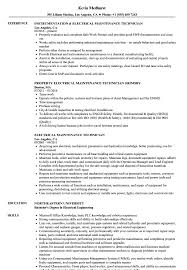 Electrical Technician Resume Sample Electrical Maintenance Technician Resume Samples Velvet Jobs 27