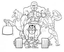 Bodybuilder Schwarz Weiß Cartoon Stockvektor Izakowski 138883412