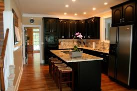image of wall kitchen paint colors with dark cabinets