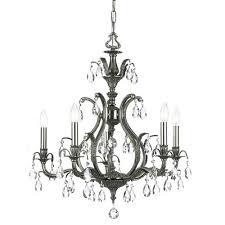 dawson pewter five light chandelier with swarovski strass crystal