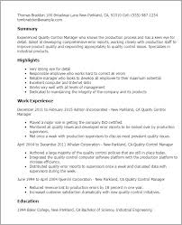 Resume Templates: Quality Control Manager