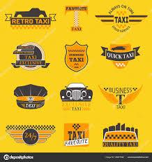 Taxi Logos Vector Label Badge Templates Design Elements Text