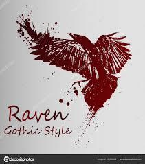 ворона тату темно красный градиента эскиз векторное изображение