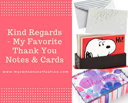 Kind Regards My Favorite Thank You Notes Cards