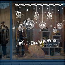 Hukz 1 Stück Weihnachtsdeko Merry Christmas Schaufensterdekoration Weihnachtssticker Wandaufkleber Fenster Aufkleber Engel Bälle Weihnachten Xmas