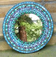 blue mosaic mirror purple and blue mosaic round mirror stained glass with ball chain wall art