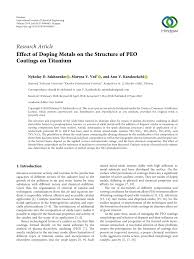 Pdf Effect Of Doping Metals On The Structure Of Peo