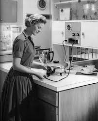 50s Style Kitchen Appliances I Want That Dress Is That Woman Hooking Her Electric Fry Pan Into