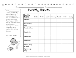 Chart On Healthy Habits Healthy Habits Chart Printable Forms Record Sheets And