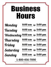 Business Hours Sign Free Printable Allfreeprintable Com
