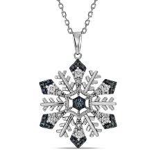 t w enhanced blue diamond snowflake pendant in sterling silver