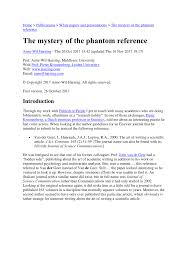 Pdf The Mystery Of The Phantom Reference