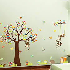 witkey forest animals owl birds hanging monkey squirrel colorful tree art wall stickers decal for nursery on colorful wall art for nursery with amazon witkey forest animals owl birds hanging monkey squirrel