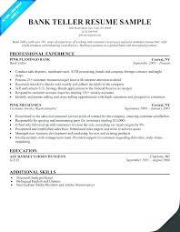 Bank Teller Description For Resumes Resumes For Banking Jobs Resume Bank Teller Sample Resumes