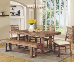rustic dining room furnishings set using unfinished table and bench feat white glass dining chandelier