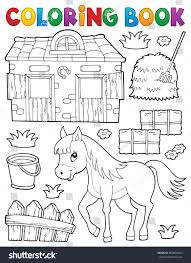 Coloring Book Horse Related Objects Eps10 Stock Vector 680850463