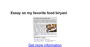 essay on my favorite food biryani google docs