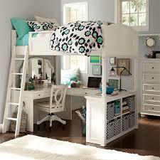 wood elegant bunk beds with desks under them