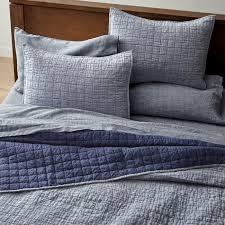blue belgian flax linen quilt king