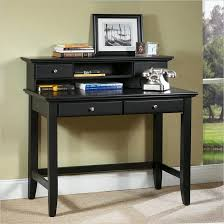 black writing desks for small spaces with hutch and drawers underneat plus phone and photo frame