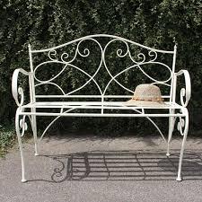 white iron garden furniture. White Metal Bench Iron Garden Furniture L