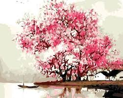 new oil painting pink cherry blossom tree by numbers canvas coloring paint acrylic tutorial