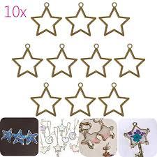 10pcs gold star open bezel setting blank pendant frame resin jewelry making