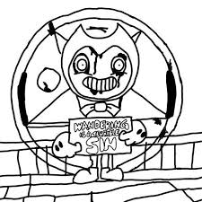 Ink Bendy Black And White Coloring Pages Free Printable Bendy And