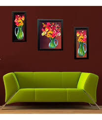 Indianara 3 Piece Set Of Framed Wall Art - Colourful Flowers In A Blue Vase