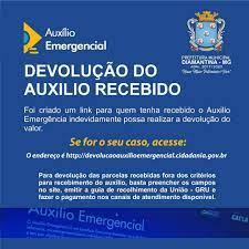 ORIENTAÇÃO PARA DEVOLUÇÃO DO AUXÍLIO EMERGENCIAL Prefeitura Municipal de  Diamantina