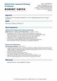 Temperature Pulse Respiration Chart Template Patient Care Associate Resume Samples Qwikresume