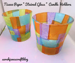 tissue paper stained glass candle holders