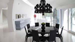 beauty black chandelier and black dining room chairs and table furniture in modern design image