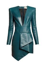 alexandre vauthier plunge neckline dd leather dress