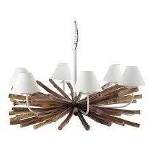 Branch Chandelier Rivage Metal And Mango Wood 6 Branch Chandelier D 109cm Maisons