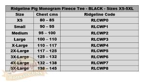 Ridgeline Pig Monogram Fleece Tee Black Sizes Xs 5xl