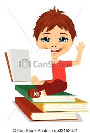 little boy showing an open book sitting on stack of books csp33152952