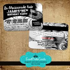 Credit Card Party Invitations Silver Masquerade 35th Birthday Credit Card