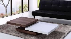 beliani coffee table swivel panels walnut and white aveiro regarding most up to