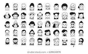イラスト 白黒 人物 おしゃれの画像写真素材ベクター画像
