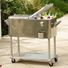 stainless steel rolling patio cooler