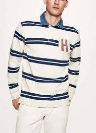 ett striped cotton long sleeved rugby shirt