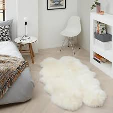 john lewis cream 100 wool sheepskin quad rug 180 x 115 cm new