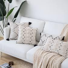 4 solid pom pom sofa cushion cover only