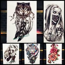 ловец снов волк тотем временные татуировки наклейки для женщин тела