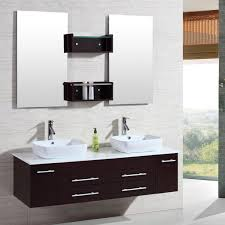 Element London 72 Inch White Finish Double Sink Vanity Set With 5 Foot Double Sink Vanity