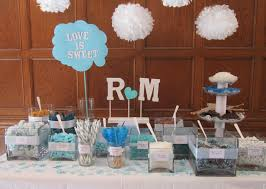 Creative Idea:Beach Engagement Table Party Decorations With Hearted Shaped  Blue Centerpieces Near White Quote