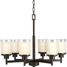 progress lighting alexa 25 in 6 light antique bronze etched glass shaded chandelier