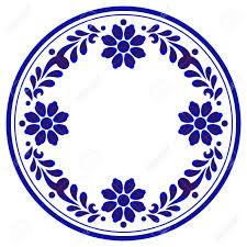 Floral Plate Design Blue Ornamental Floral Round Porcelain Decorative Art Frame