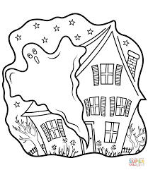 Haunted Houses With Ghost Coloring Page Free Printable Coloring Pages